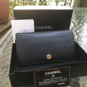 Chanel Black Long Flap Wallet Gold CC Hardware